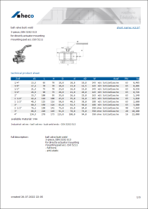 Data sheet ball valve butt weld