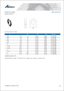 Data sheet hexagon nut, casting