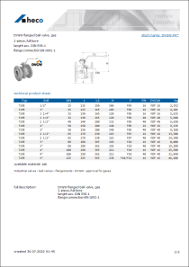 Data Sheet DVGW flanged ball valve, gas