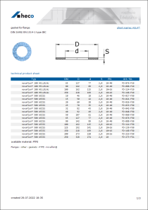 Data sheet gasket for flange