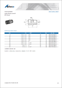 Data Sheet reducing adapter