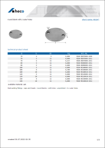 Data sheet round blank with 2 outer holes