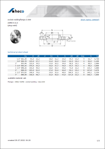 Data sheet socket welding flange cl. 600