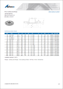 Data Sheet PN 16 welding neck flange