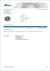 Data sheet Circular blank, concave