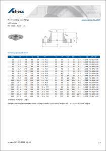Data sheet PN 40 welding neck flange