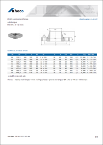 Data sheet PN 10 welding neck flange