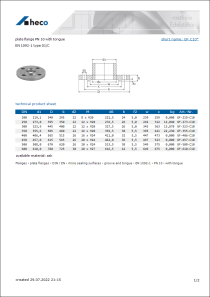 Data sheet plate flange PN 10 with tongue