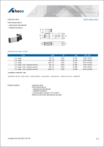 Data sheet solenoid valve