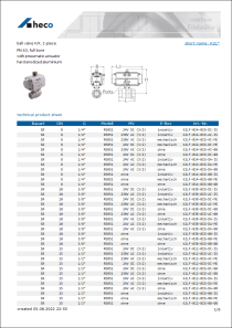 Data sheet ball valve F/F, 2-piece
