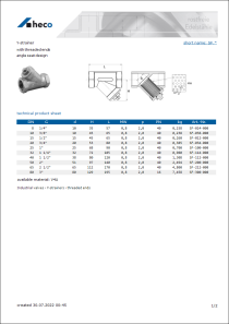 Data Sheet Y-strainer