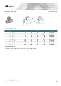 Data sheet swing-check valve, PN 16