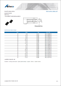 Data sheet Insert for glass clamp