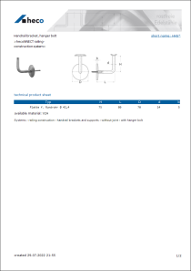 Data sheet Handrail bracket, hanger bolt