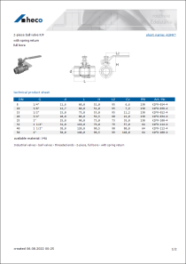 Data sheet 2-piece ball valve F/F