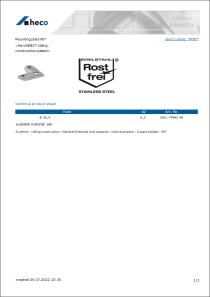 Data sheet Mounting plate 90°