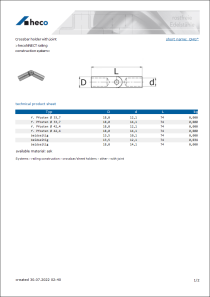Data Sheet Crossbar holder with joint