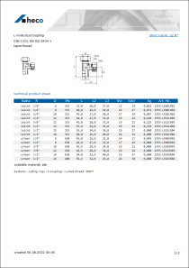 Data sheet L-male stud coupling