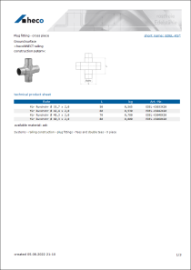 Data sheet Plug fitting - cross piece
