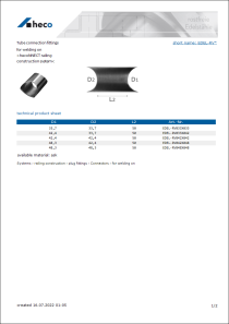 Data Sheet Tube connection fittings
