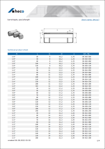 Data sheet barrel nipple, special length