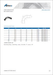 Data Sheet orbital welding bend 90°