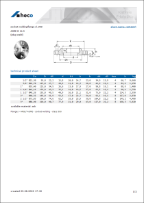 Data sheet socket welding flange cl. 300