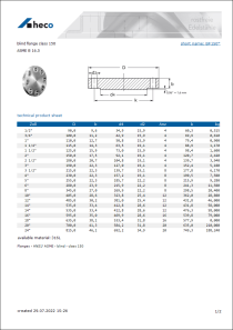 Data sheet blind flange class 150
