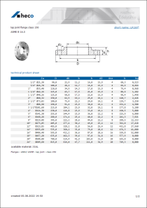 Data sheet lap joint flange class 150