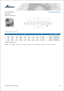 Data sheet PN 100 blind flange