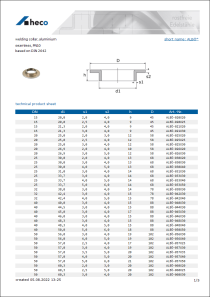 Data sheet welding collar, aluminium