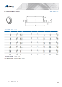 Data sheet pressed collar EN1092-1/type37