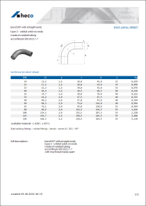Data sheet bend 90° with straight ends