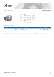 Data sheet screw-in part conical
