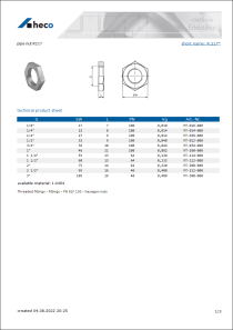 Data sheet pipe nut R217