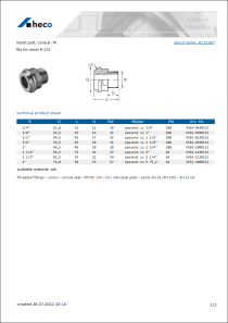 Data Sheet insert part, conical - M