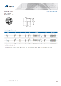 Data Sheet insert part, conical