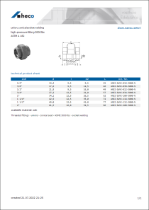 Data Sheet union, conical socket welding