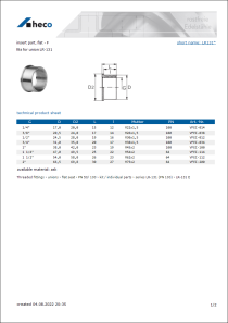 Data sheet insert part, flat - F