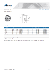 Data sheet screw-in part, flat - S