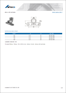 Data sheet elbow with wall plate