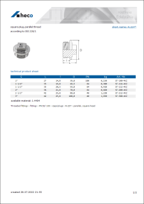 Data sheet square plug, parallel thread