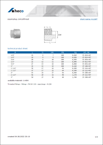 Data sheet square plug, conical thread
