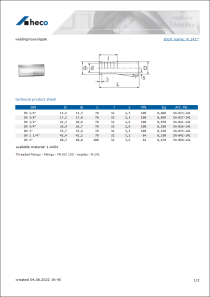 Data sheet welding hose nipple