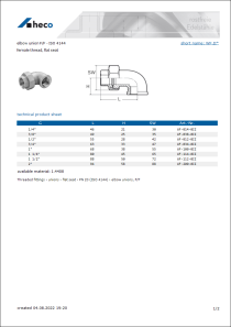 Data sheet elbow union F/F - ISO 4144