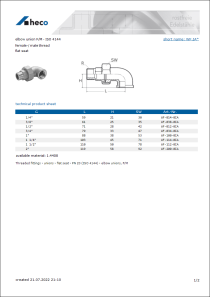 Data Sheet elbow union F/M - ISO 4144