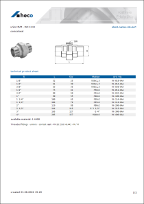 Data sheet union M/M - ISO 4144