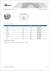 Data Sheet hexagon nipple, ISO 4144