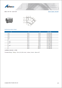 Data Sheet elbow 45° F/F - ISO 4144