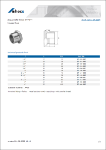 Data sheet plug, parallel thread ISO 4144